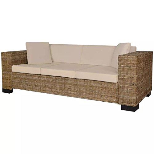 Lingjiushopping huit pièces canapé 3 places en rotin realecolore du sofa : couleur du rotin naturel coussin couleur : linge blanc