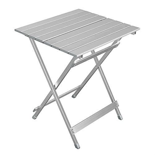 WOLTU Table de Camping en Aluminium Table d'appoint Pliante Table de Balcon Table de Pique-Nique Ultra-légère Portable et Pliable 50.5x47x59.5cm Argent CPT8138sb