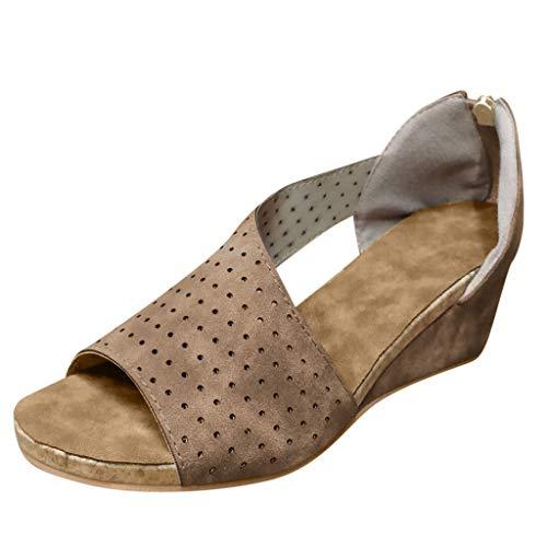 YWLINK Sandalias PU Moda Mujer CuñAs Boca Baja Peep Toe Zapatos Casuales De Playa Sandalias Romanas Fiesta TamañO Grande Zapatillas Al Aire Libre Moda Casual(Caqui,37EU)
