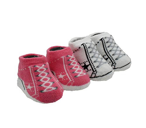 Converse One Star Infant Booties Socks-2 Pack (0-6 Months, Bright Pink Lemon (A8R))
