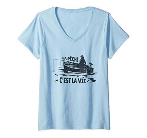 Mujer La Peche, pescador canadiense y francés Camiseta Cuello V