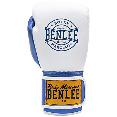 Benlee Boxhandschuhe Leder Metalshire, Farbe:White/Blue, Größe:10 oz