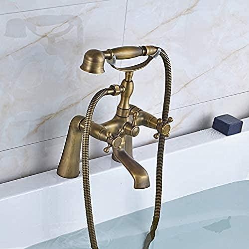 Grifo de latón antiguo Baño Grifo de la bañera Ducha de mano Spray Juego de mezcla de agua fría y caliente Montaje en cubierta Juego de ducha estilo teléfono
