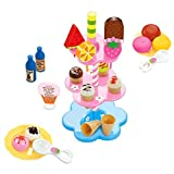 Gazechimp Kinderkche Eiscreme Dessert Lebensmittel Spielset ( Eis, Desserts, Getrnke Teller, Lffel, stehen) 22pcs