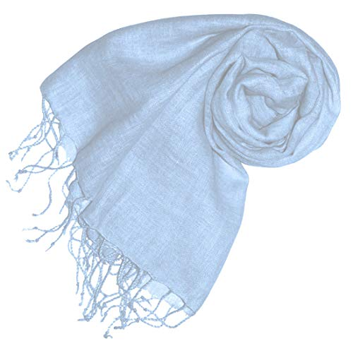 Lorenzo Cana Damenschal Schal Tuch Leinenschal 65 x 175 cm 100% Leinen uni Hellblau Babyblau Himmelblau 93065
