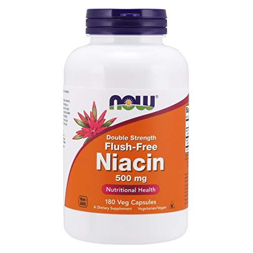 NOW Supplements, Niacin (Vitamin B-3) 500 mg, Flush-Free, Double Strength, Nutritional Health, 180 Veg Capsules