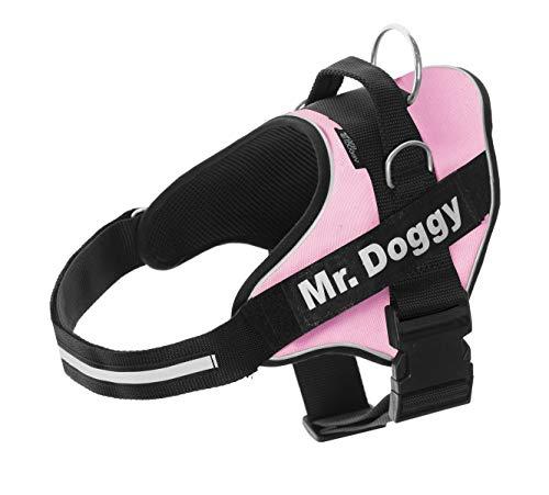 Mr. Doggy Arnés Personalizado para Perros - Reflectante - Incluye 2 Etiquetas con Nombre - Todos los Tamaños - De Calidad y Resistente (S 7,5-15KG, Rosa)