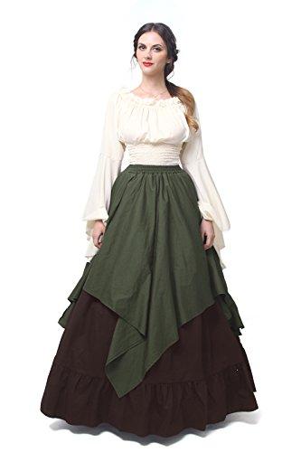NSPSTT Damen-Kleid, Renaissance, Mittelalter-Kostüm, viktorianisches Kleid, schottisches Kleid - - XX-Large