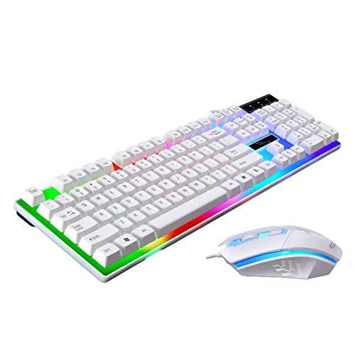 Teclado, teclado y mouse con cable y duraderos y livianos, retroiluminación óptica LED, mouse, baja latencia, personalización de juegos (blanco)