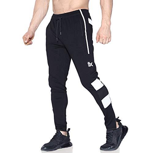 BROKIG Mens Sports Trousers Gym Joggers Tracksuit Bottom Slim Fit Jogging Pants Leg Zip (Medium, Black)