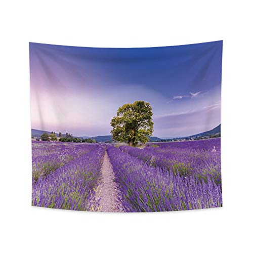 YongFoto 33.9x27.6 Inches Purple Lavender Flowers Wall Hanging Tapestry Provence Flowers Fields Tapestry Nature Landscape Tapestry for Bedroom Living Room Decor