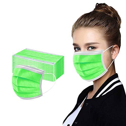 Harpily 50 Piezas Unisex Cubierta Facial Color sólido para Adultos 3 ply Tela de importación Talla única para Hombre Mujer (Verde Fluorescente)