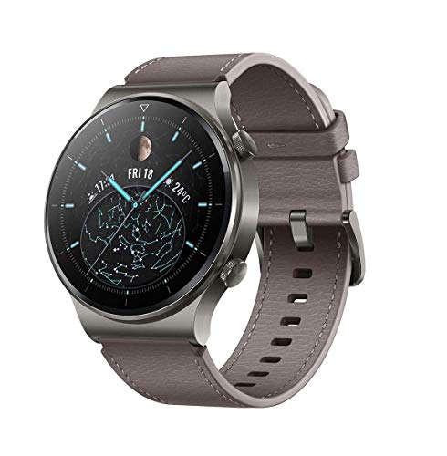 HUAWEI Watch GT 2 Pro Classic Smartwatch (35 mm AMOLED-Display, SpO2-Monitoring, Herzfrequenzmessung, Musik Wiedergabe&Bluetooth Telefonie, 5ATM, GPS) Nebula Gray [Exklusiv+5 EUR Amazon Gutschein]