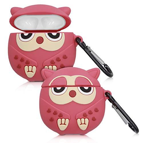 kwmobile Hülle kompatibel mit Apple AirPods Kopfhörer - Silikon Schutzhülle Hülle Cover Airpod Eule Pink Champagner Rot