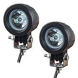Faros Moto LED,EKLAMP Faros Auxiliares de moto LED,Foco de Coche LED,6500K IP67 12V 24V para Máquina elevadora Moto Auto SUV ATV(2Pcs) (10W Round)