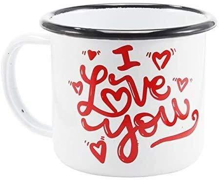 HLR Tazas de Café Tazas para Espresso Tazas Día de Tarjeta del día de San Valentín Simple Bek Edge Esmaltado Taza, Te Amo Modelo Taza de la Leche, Taza de café de la Oficina en casa