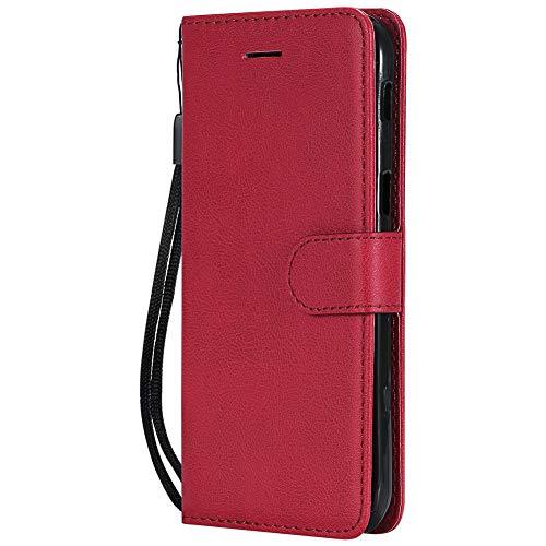 Coopay einfach Solide Farbe Schutzhülle für Samsung Galaxy A5 2017,Ledertasche Wallet Case Tasche Hüllen,Standfunktion Card Holder Magnet Lanyard Lederhülle,Flip Handy Brieftasche Etui Mappen,Rot