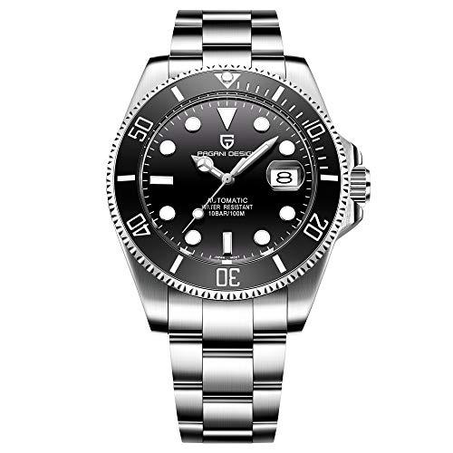 Pagani Design Brand Stainless Steel Mens Watch Automatic Mechanical Waterproof Ceramic Bezel Wristwatches (Black)