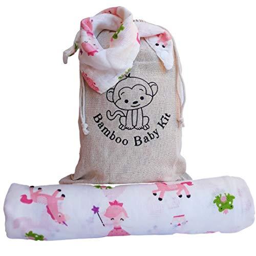 Muselina de bebé de algodón de bambú: manta de muselina de 120 x 120 cm + babero + pañuelos. Idea regalo para recién nacidos. Sábanas ecológicas transpirables. Princesas y unicornios.