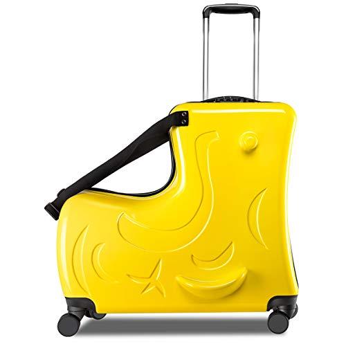キッズキャリーケース C-J-W キャリーバッグ 子供用 スーツケース 子供が乗れる 木馬形 軽量 静音キャスター かわいい 小型 Mサイズ 丈夫 旅行 帰省 遠足 お出掛け便利 おもちゃ箱 保証付き イエロー
