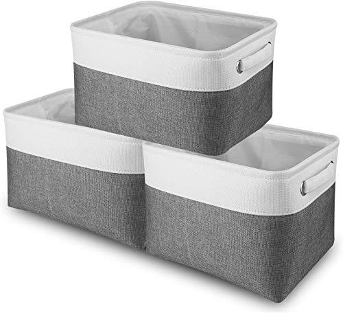 SWEETOP Juego de 6 cestas de almacenamiento grandes (plegables), caja de almacenamiento plegable de tela de lona con asas para el hogar, oficina, armario, juguetes, ropa de niños, guardería (blanco)