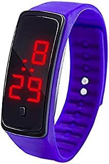Smart Watch LED Digital Display Silicone Bracelet Children Electronic Watch(Black) (Color : Purple)
