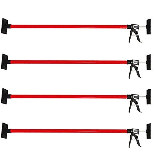 DeTec 4er Set Einhandstütze/Baustütze/Montagestütze/mit je 30 kg Tragkraft mit Blitzspanner / 115-290 cm/Teleskopstütze/Deckenstütze/Stütze für Paneel