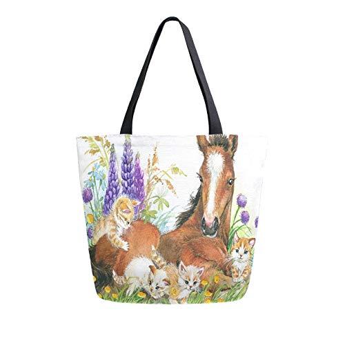 Lerous - Bolsa grande de lona reutilizable para hombre, diseño de caballo y gato