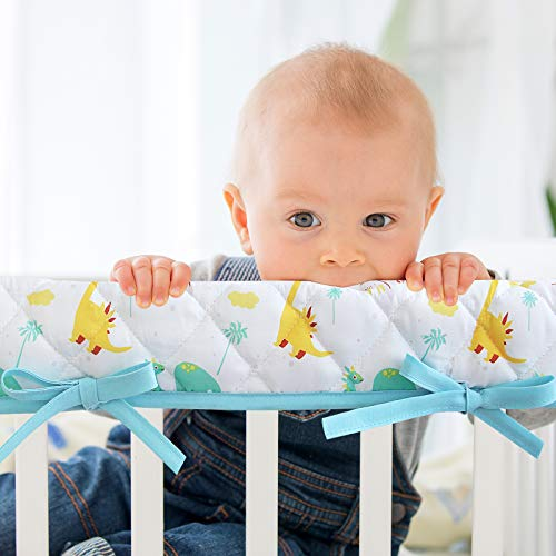 3-Piece Padded Baby Dinosaur Crib Rail Cover Protector Set from Chewing, Crib Rail Teething Guard for Standard Cribs, 1 Front Rail and 2 Side Rails, Secure Crib Rail Guard