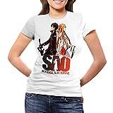 Camiseta Serie Manga y Anime Mujer Sword Art Online, Sao (Blanco, M)