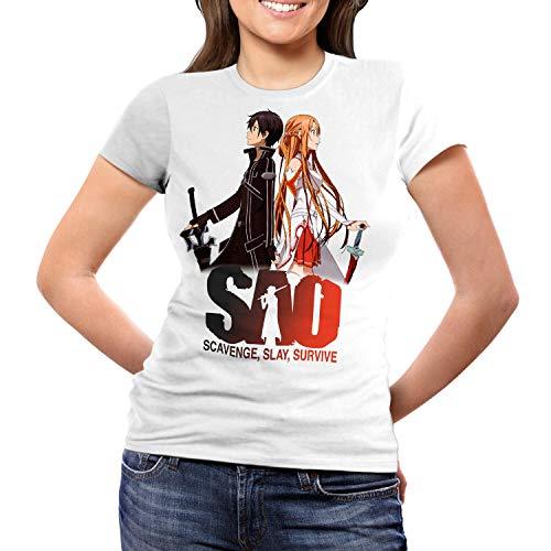 Camiseta Serie Manga y Anime Mujer Sword Art Online, Sao (Blanco, L)