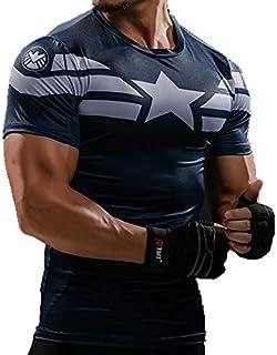 Desconocido FRIKIMANES Camiseta Deportiva Superhéroes Capitán América de Compresión Deporte Running Fitness Kick Boxing Cr...