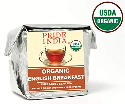 Pride Of India - Organic English Breakfast Premium Black Tea, Half Pound (8oz - 227gm) Full Leaf Tea - Maakt 80-100 kopjes - Perfect gemengd met Indiase zwarte thee voor een verkwikkende geur en smaak