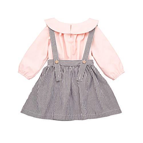 Gyratedream Kinder-Sets Zweiteiler Mädchenanzug Striped Strap Dress Lapel Shirt, 2-6T