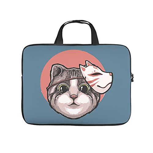 Japonés lindo gato animal bolsa de ordenador portátil patrón bolsa suave antiestático portátil maletín con asa portátil para mujeres hombres blanco 12 pulgadas