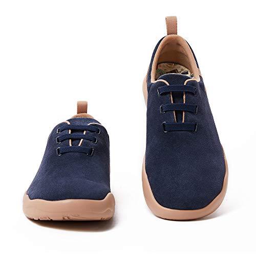 UIN Segovia Deep Blue Cow Suede Lace-up Shoes Herren Slip On Schuhe Reiseschuhe Lässiger Fashional Sneaker Segelschuhe Wildleder(47)