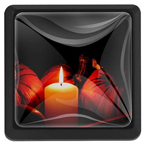 Halloween schilderij vierkante lade knoppen trekken handgrepen 3 Pack gebruikt voor keuken, dressoir, deur, kast Modern design 37x25x17mm/1.45x0.98x0.66in Pompoen en Kaars