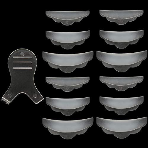 iNNEXT Juego de herramientas de silicona para perforar pestañas con 6 pares de rizador de pestañas y cepillo de pestañas en Y 13 piezas en total Transparente