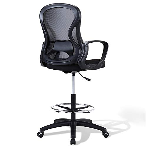 US Stock Ergonomic Drafting Chair for Standing Desk, Tall Office Desk Chair with Lumbar Support, Mid Back Mesh Stool, Adjustable Height Computer Chair (Black)