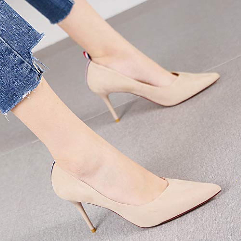 HRCxue Pumps Temperament Wildleder Mode Spitze Stiletto Heels flachen Mund einzelne Schuhe weiblich, 39, beige