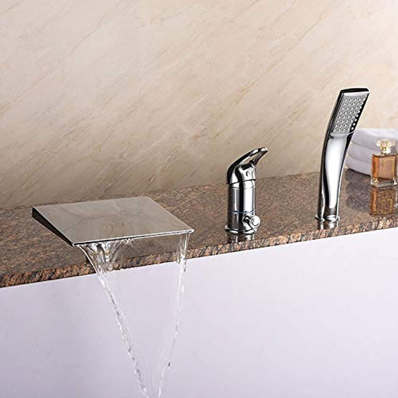 BMY Startseite Moderne Mode Gehobener Wasserfall Dreiteilige Bad Wasserhahn Dusche