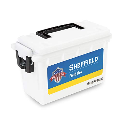 Sheffield 12634 Field Box, Pistol, Rifle, or Shotgun Ammo Storage Box, Tamper-Proof Locking Ammo Can, Water Resistant, Made in The U.S.A, Stackable, White