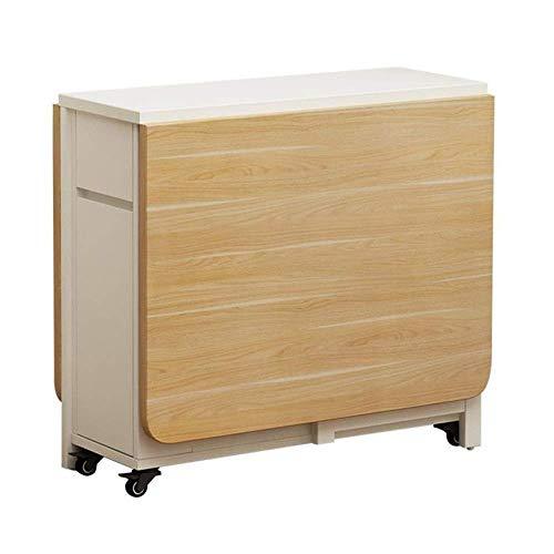 Renovación del hogar Cocina Mesa de comedor Mesa de comedor plegable Mesa extensible multifunción de hoja abatible Mesa extensible con 2 estantes de almacenamiento y 4 ruedas (Color: Amarillo pálid