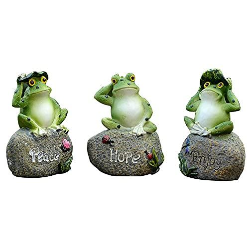 3 piezas / set estatuas jardín rana, modelo estatua figura rana resina 13 cm, rana sentada en esculturas piedra, adornos rana verde, decoración jardín casa, paisaje, decoración piscina, manualidades