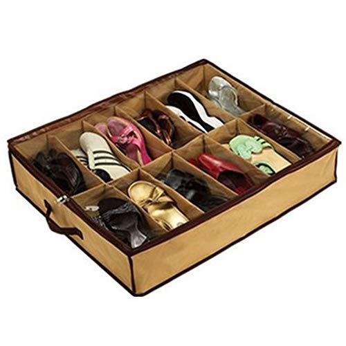 CJMING Bolsa para Guardar Zapatos, Organizador De Zapatos para Almacenamiento 12 Compartimentos Caja De Almacenamiento Debajo De La Cama con Guardapolvo, 55 * 48 * 13 cm