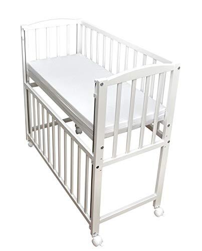 Beistellbett Babybett 90x40cm höhenverstellbar weiß inkl. Matratze Räder NEU