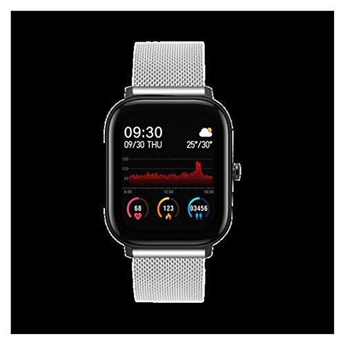 YNLRY Reloj inteligente P8 para hombre y mujer, pantalla táctil completa de 1,4 pulgadas, monitor de ritmo cardíaco, IP67, resistente al agua, GTS Sports Band (color: acero plateado)