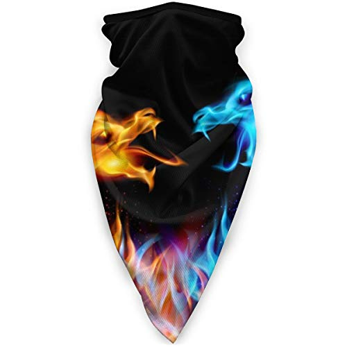 Masque de sport coupe-vent pour homme et femme Motif dragons Bleu et rouge