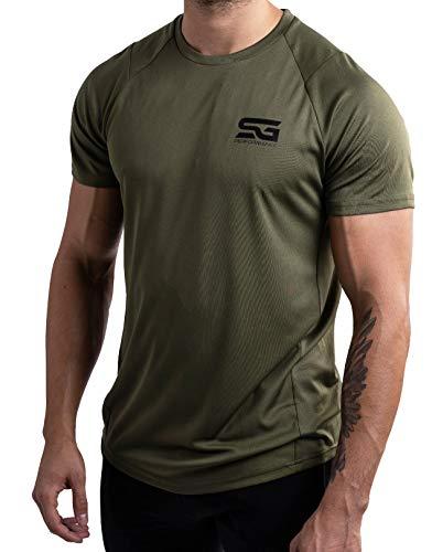Satire Gym – Muscle Fit Sportshirt Herren/Eng sitzendes & schnell trocknendes Sport Mesh-Shirt/Sportbekleidung für Herren - Geeignet als Fitness- & Bodybuilding Shirt (L, olivgrün)