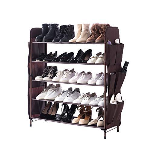 UDEAR Zapatero Independiente, 5 Capas con 8 Bolsillos Laterales para Zapatos, Ancho 80 cm, marrón